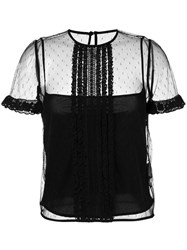 Red Valentino Polka Dot Mesh Blouse Black