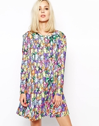 House Of Holland Long Sleeve T Shirt Dress In Bow Print Bowprint