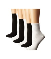 Hue Ribbed Shortie 6 Pack White Black Women's Crew Cut Socks Shoes