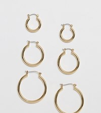 Monki 3 Pack Hoop Earrings In Gold
