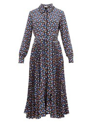La Doublej Pinwheel Print Pleated Skirt Shirtdress Blue Print