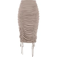 River Island Womens Beige Ruched Pencil Skirt