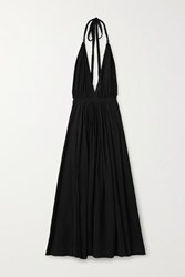 Caravana Hera Leather Trimmed Cotton Gauze Halterneck Maxi Dress Black