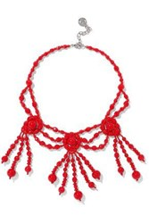 Ben Amun Beaded Silver Tone Necklace Red
