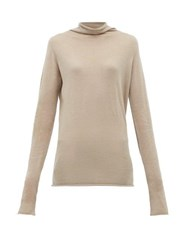 Raey Sheer Raw Edge Funnel Neck Cashmere Sweater Grey