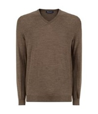 Aquascutum London Merino Wool V Neck Sweater Beige