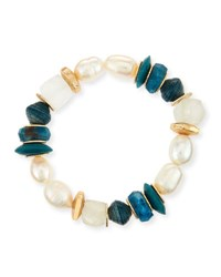 Akola Pearly Beaded Stretch Bracelet Green