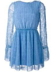 Msgm Lace Overlay Flared Dress Blue