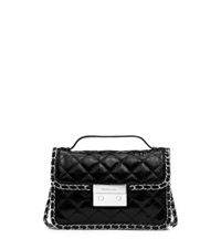 Michael Kors Carine Small Quilted Patent Leather Messenger Black