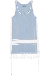 Koza Lebron Fringed Cotton Chambray Dress Sky Blue