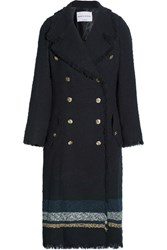 Sonia Rykiel Striped Boucle Tweed Coat Navy