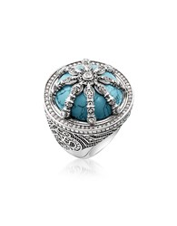Thomas Sabo Rings Blackened Sterling Silver And Synthetic Turquoise Ring W White Cubic Zirconia