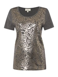 Linea Foil Overlay Knitted Top Silver