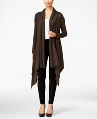 Cable And Gauge Multi Wrap Open Front Cardigan Java Brown