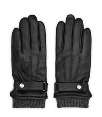 Reiss Henley Touch Leather Touchscreen Gloves In Black