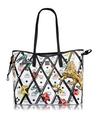 Mcm Shopper Project Motif Print White Coated Canvas Reversible Medium Shopper