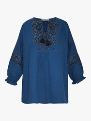 d2ac1d61799e Gerard Darel Enzo Tassel Detail Embroidered Cotton Blouse Ink Blue