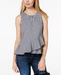 Maison Jules Gingham Print Peplum Top Created For Macy's Blue Notte Combo