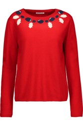 Chinti And Parker Intarsia Knit Merino Wool Cashmere Blend Sweater Red
