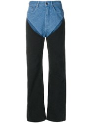 Y Project Patchwork Straight Jeans Black