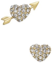 Kate Spade New York 14K Gold Plated Pave Heart And Arrow Stud Earrings