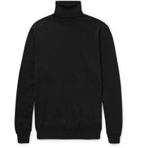 Jil Sander Wool And Silk Blend Rollneck Sweater Black