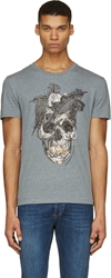 Alexander Mcqueen Grey And Brown Feather Skull T Shirt