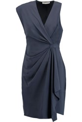Halston Heritage Draped Asymmetric Crepe Dress Storm Blue