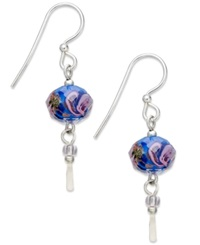 Jody Coyote Sterling Silver Earrings Blue Flower Bead Drop Earrings