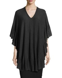 Max Studio Ruffled Trim Knit Poncho Black