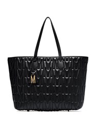 Moschino Black Quilted Monogram Leather Tote Bag 60