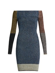 Christopher Kane Contrast Panel Metallic Knit Dress Multi