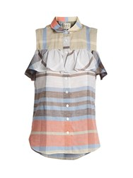 Sea Ruffle Trimmed Sleeveless Plaid Cotton Top Beige Multi