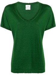 Barrie Lace Detail T Shirt Green