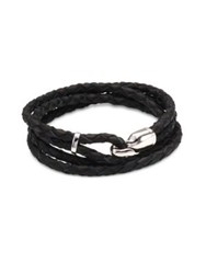 Miansai Trice Sterling Silver And Leather Hook Bracelet Black