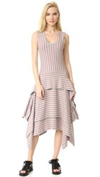 Opening Ceremony Stripe Tiered Short Long Dress Heather Grey Multi