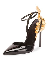 Saint Laurent Patent Metallic Ruffle 110Mm Pump Black