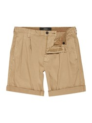 Replay Men's Solid Stretch Satin Bermuda Shorts Khaki