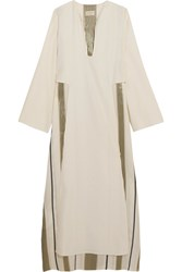 Zeus Dione Khloris Layered Silk Crepe And Striped Jacquard Maxi Dress Ivory