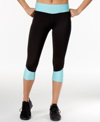Ideology Colorblocked Performance Capri Leggings Only At Macy's Crystal Mist
