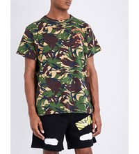 Off White C O Virgil Abloh Camouflage Print Cotton Jersey T Shirt All Over Orange