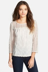 Hinge Lace Mix Top White