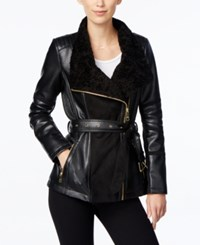 Guess Faux Fur Collar Faux Leather Jacket Black