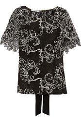 Oscar De La Renta Cape Effect Guipere Lace Top Black
