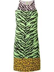 Moschino Cheap And Chic Zebra And Leopard Print Dress Green