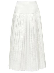 The Row Magdita Knife Pleated Cotton Blend Midi Skirt Ivory
