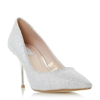 Untold Bekissed Glitter Mid Heel Court Shoes Silver
