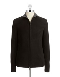 Dkny Ribbed Zip Up Sweater Black