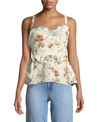 Brock Collection Rose Print Layered Corset Tank W Lace Up Back Cream