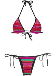 Amir Slama Panelled Triangle Bikini Set Multicolour